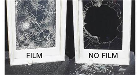 Security window film helps keep glass together