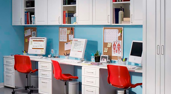 ... Workstations Can Be Designed To Provide Ample Work Space And Offer  Convenient Storage Solutions For Staff; Our Commercial Cabinetry ...
