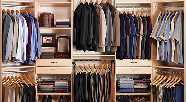 Custom Closets Organize Business Suits, Casual Attire And Accessories With  Pull Out Baskets, ...