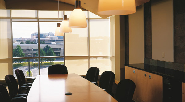 set the tone of a room simply with solar shades to accommodate every meeting