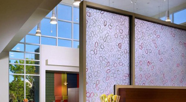 ... Decorative Office Building Window Treatments Add A Touch Of Design  While Screening For Privacy With Decorative ...